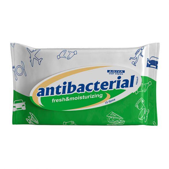 Агива Мокри Кърпи Антибактериални Зелени 15бр