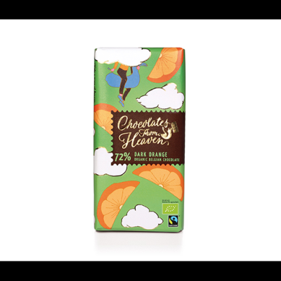 Чоколетс Фром Хевън Шоколад Черен 72% Портокалови Корички 100г